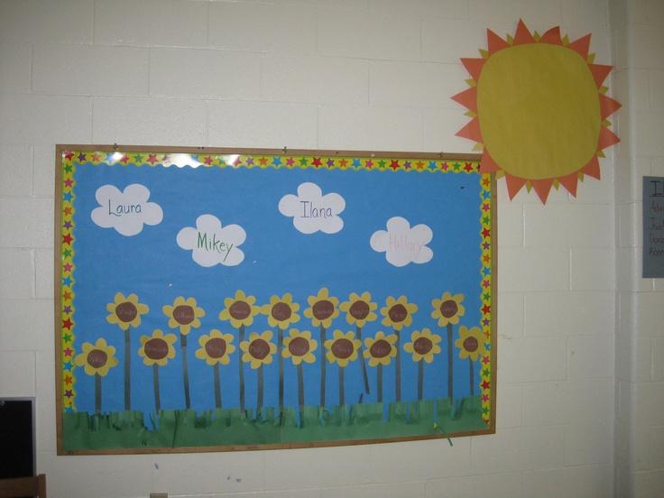 Sunflowers names bulletin board | August Bulletin Board Inspiration ...
