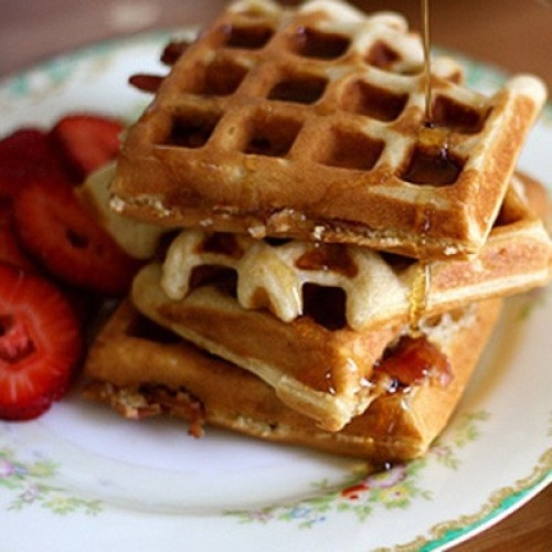 Waffles - of course nothing beats waffles with macadamia nuts and ...