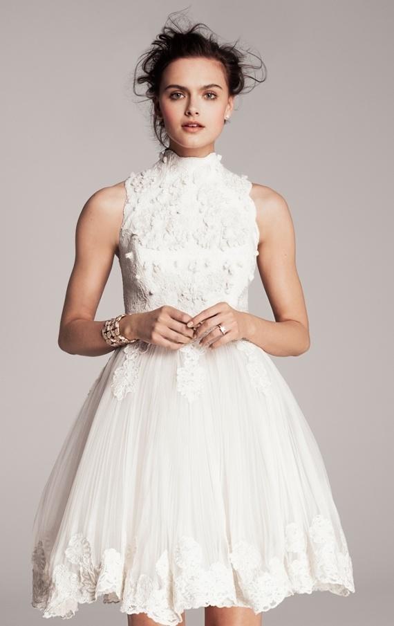 short white sleeveless wedding dress (Ted Baker). lace (city hall wedding idea)