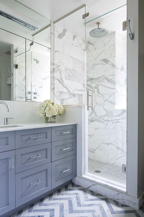 Benjamin Cruz Designs - bathrooms - Benjamin Moore - Dior Gray - white and gray bathroom, dior gray, gray vanity, gray washstand, frameless ...