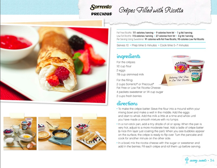 Crêpes Filled with Ricotta | Food – Recipes To Try | Pinterest