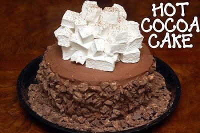 ... LAYER, HOT CHOCOLATE CAKE WITH HOMEMADE MARSHMALLOWS CRUSHED