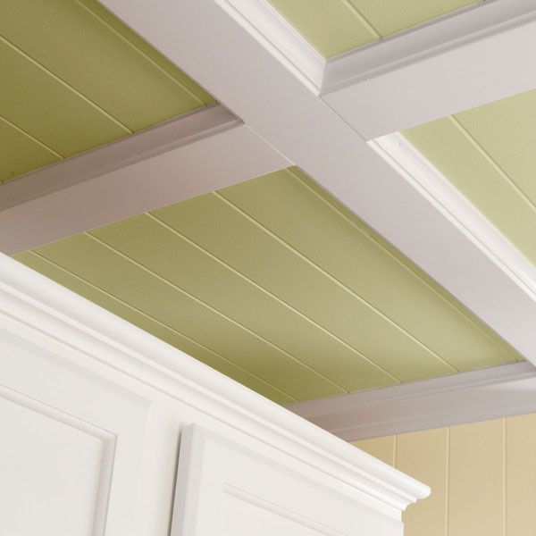 tutorial on how to do a coffered ceiling with beadboard and simple trim lumber.