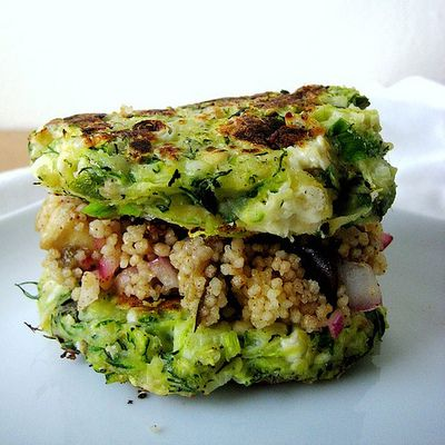 Zucchini Fritters with Feta and Dill and Eggplant Couscous Salad with ...