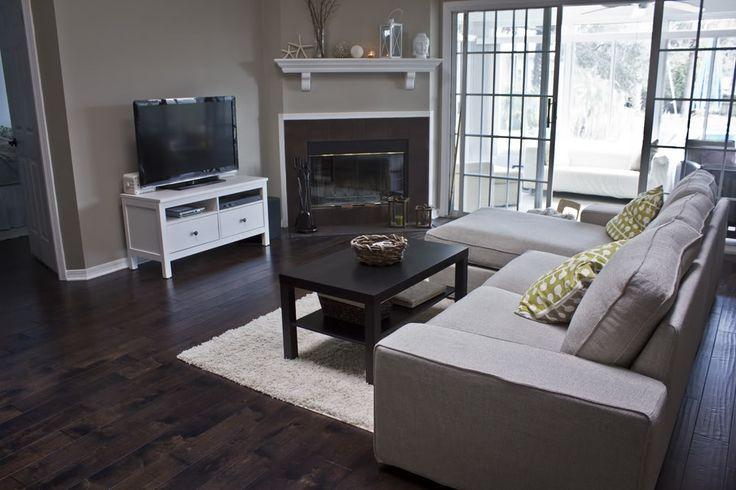 IKEA Kivik sofa in Teno light gray  Hemnes white twodrawer TV stand