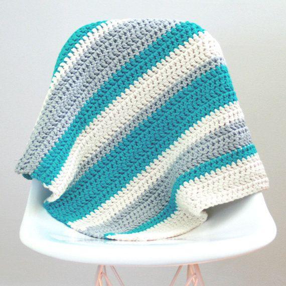 Modern Crochet Baby Blanket Organic Cotton Blue Stripe
