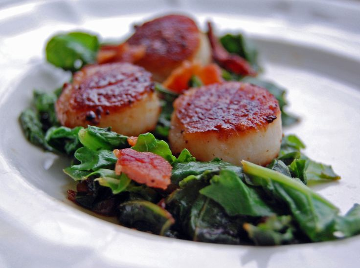 Pan Seared Scallops with Bacon and Kale | Food / Recipes | Pinterest