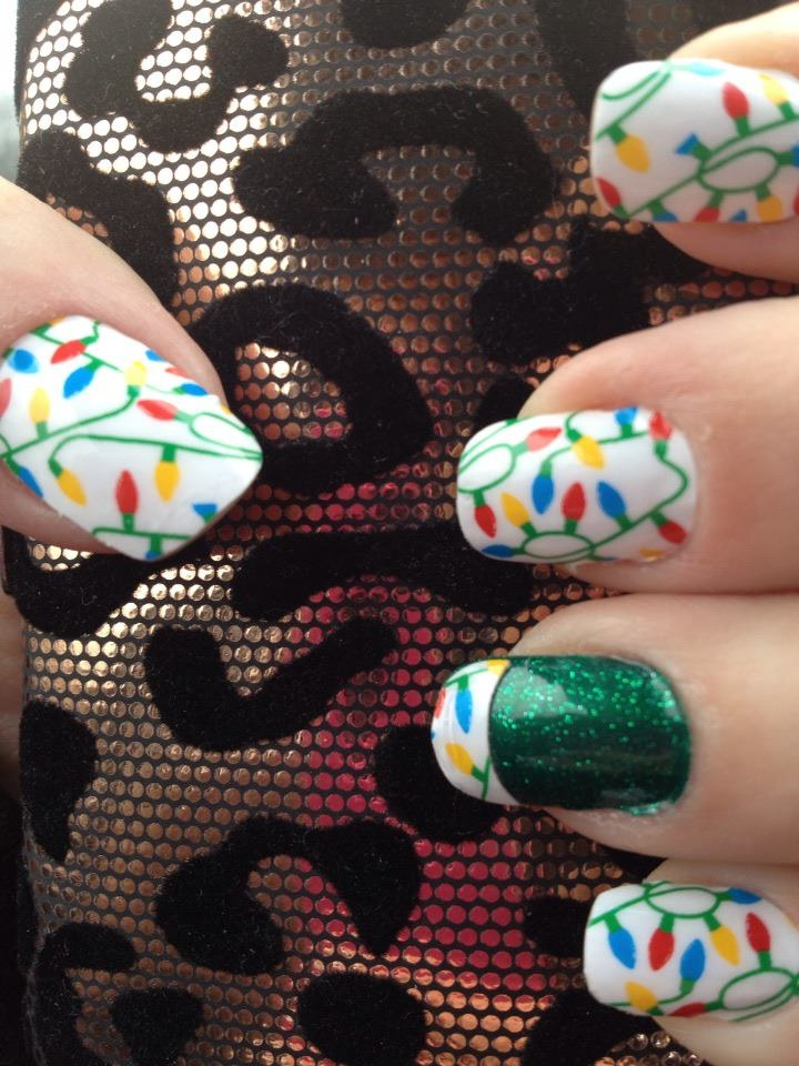 Jamberry String of Lights and Green sparkles #nailwraps #naildesigns #christmasideas Nails ...
