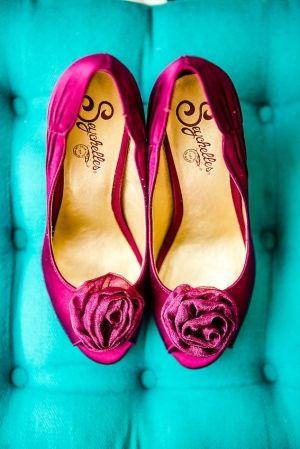 magenta Seychelles wedding shoes