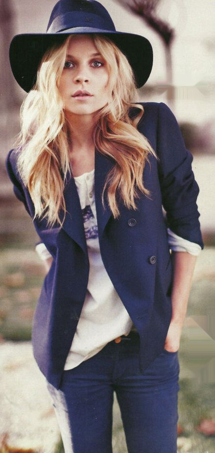 navy blazer and dark blue jeans