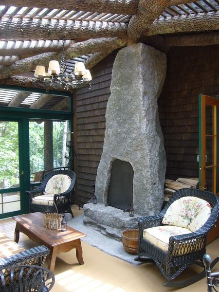 stone fireplace . Monolithic Chimney . Freshwater Masonry . Winkelman Architecture