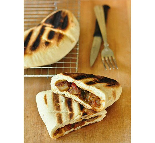 : Flatbread Stuffed with Curried Potatoes, Spinach, and Chickpeas ...