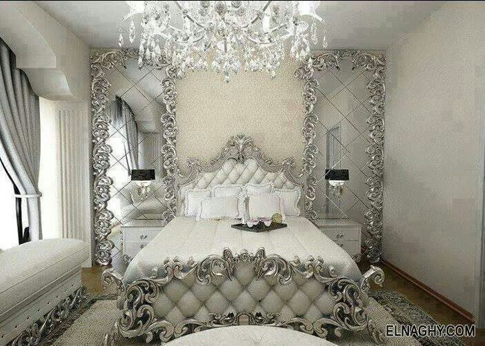 Chambre blanc argent chambres coucher l gantes for Bedroom ideas silver