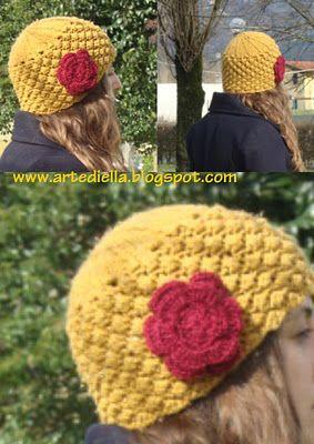 Schema cappello di lana ai ferri a punto rosette o nocciolina. spiegazione