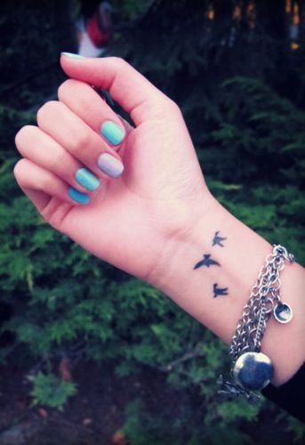 bird wrist tattoos with color