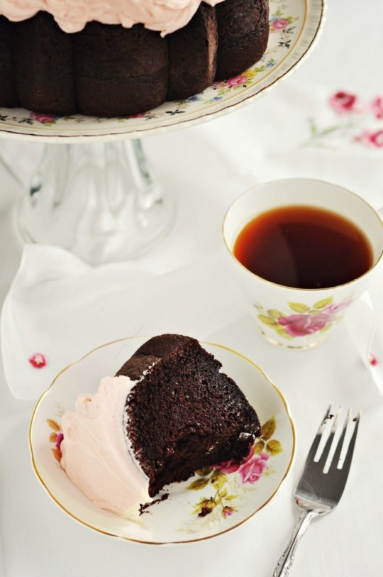 Dark Chocolate Chiffon Cake with Fluffy Rosewater Frosting