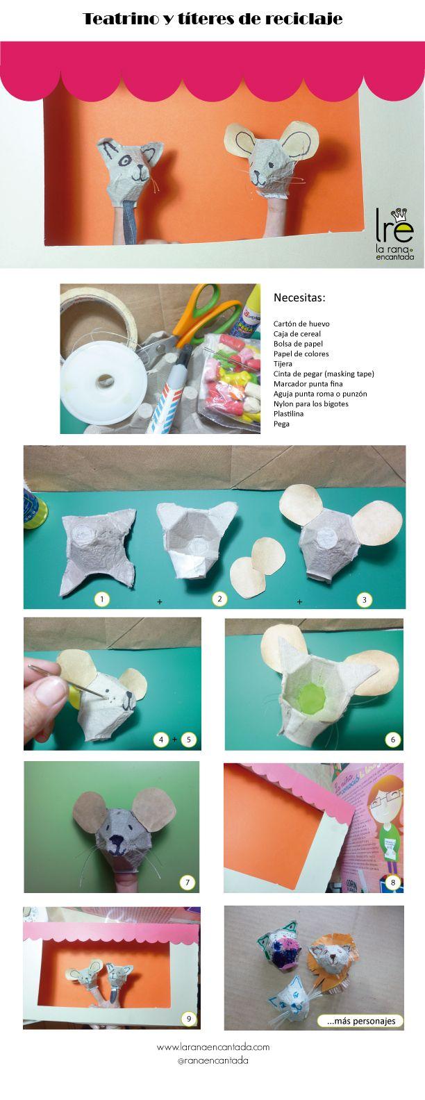 Cómo hacer un pequeño teatrino con reciclaje para jugar con tus niños ¡e inventar muchas historias! / DIY: little theater and fingers puppets from upcycled materials