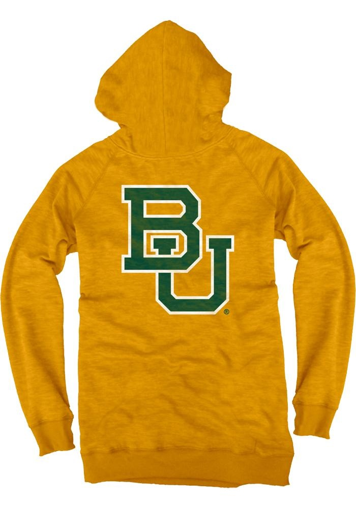 Baylor Bears Hoodie - Womens Gold Burnout Fleece Pullover Hooded