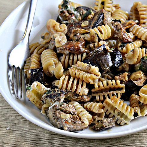 Pasta with Oven Roasted Eggplant, Goat Cheese, and Mint -just made ...