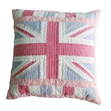 Pink union jack cushion.