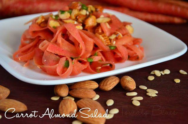 Tomato Blues: Carrot Almond Salad Recipe | Easy Salad Recipes