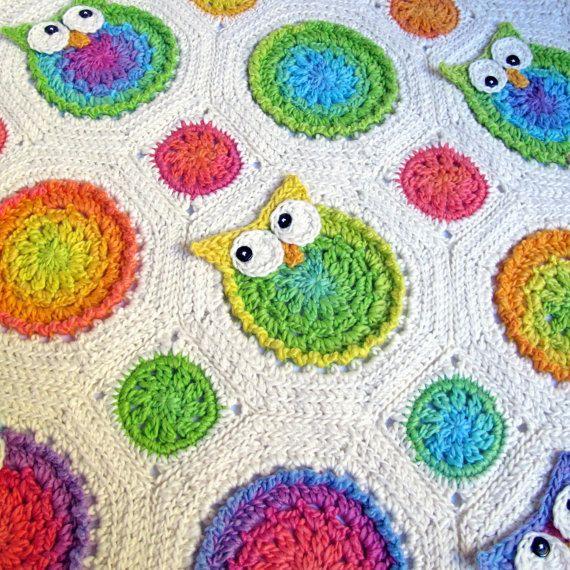 Owl Blanket Knitting Pattern : Crochet Owl Baby Blanket-Afghan