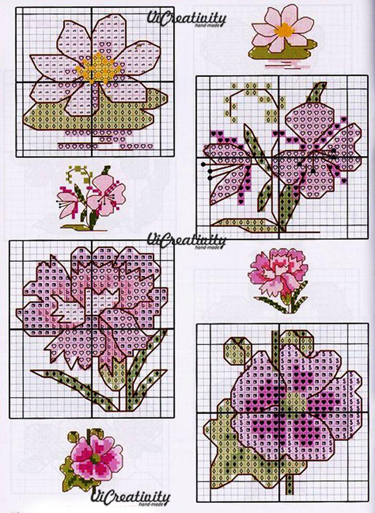 Вышивка цветы схема крестиком 91