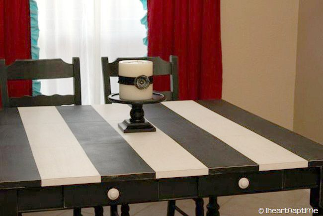 black and white striped table  Crafty  Pinterest