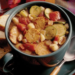 Hearty Minestrone with hot Italian sausage