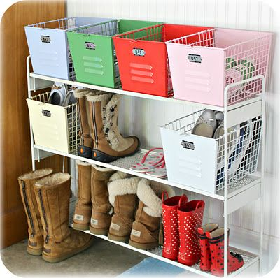Great shoe organizer. never thought of putting flip flops in a basket. great idea!