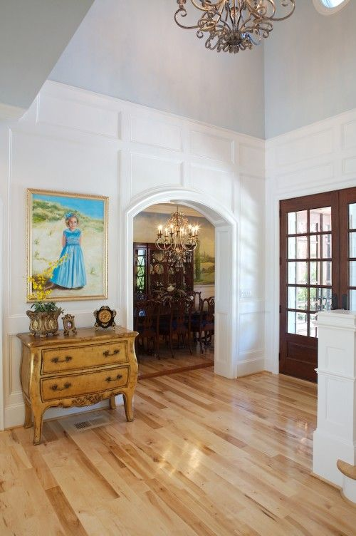 Two Story Foyer Wainscoting : Wainscoting to normal ceiling height trimwork built ins