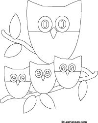 Simple Owl Family Coloring Sheet