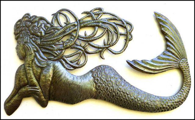 Mermaid Wall Hanging Haitian Metal Art Recycle Steel