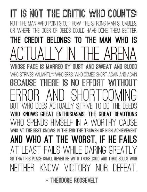 Man In The Arena Theodore Roosevelt Quotes Quotesgram
