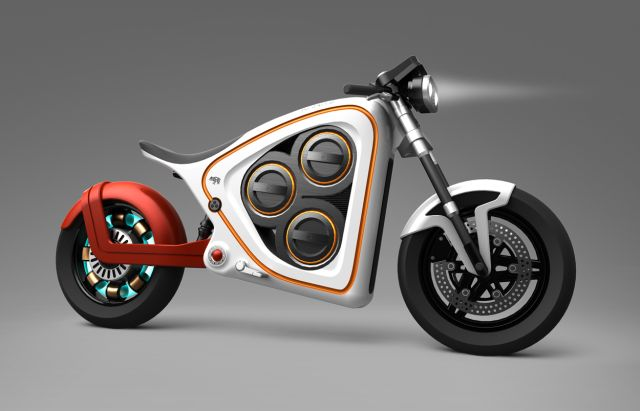 Frog Rana 2 electric motorcycle concept includes augmented reality and swappable batteries.