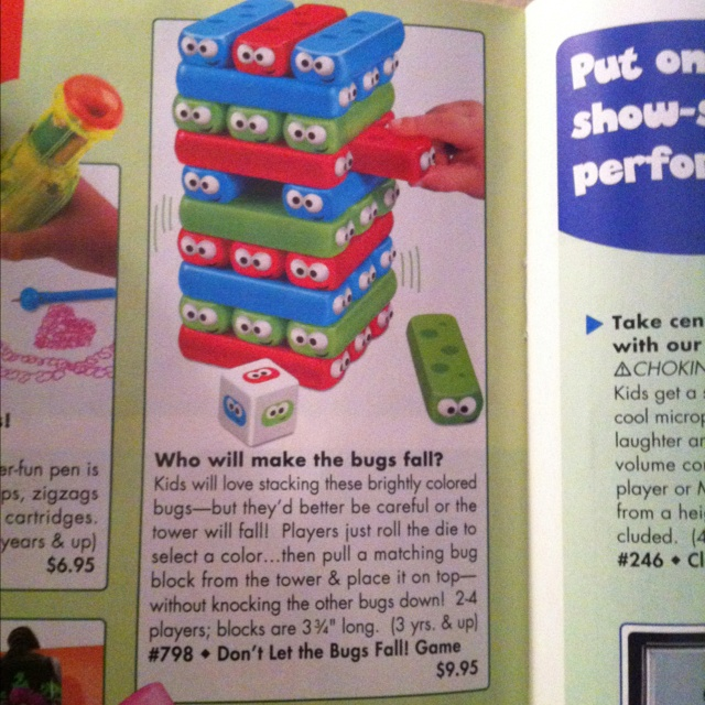 Don't let the bugs fall. Like a Jenga game for little ones. $9.95 from www.ttgo.com  For bella