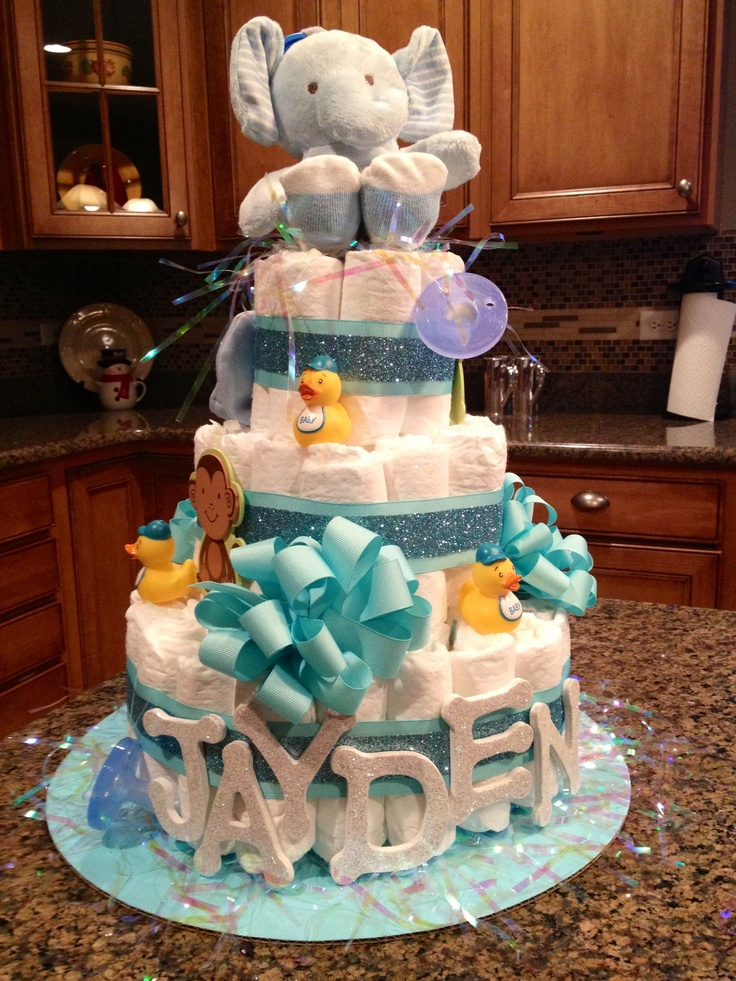 Baby boy diaper cake baby shower pinterest for Baby shower decoration diaper cake