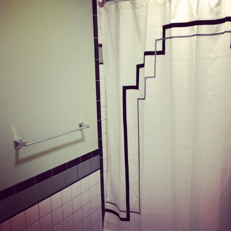 Art Deco tile work and custom shower curtain design by # ...