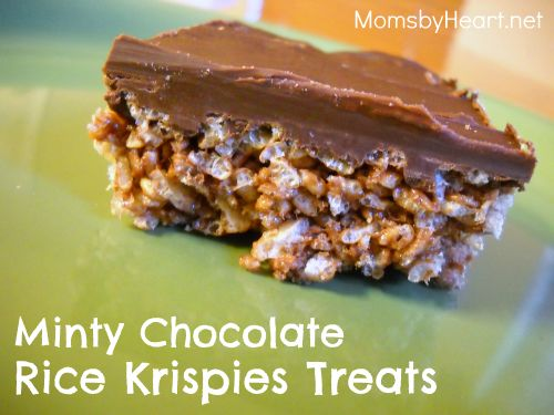 Minty Chocolate Rice Krispies Treats | FOOD | Pinterest