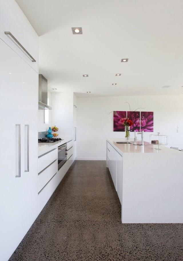 White kitchen concrete flooring kitchen pinterest for Floor ideas for white kitchen