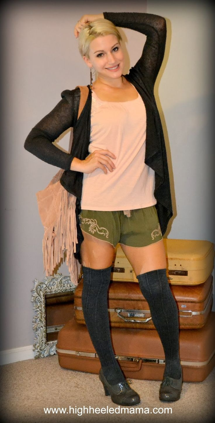 heel oxfords open cardigan fringe bag cute look for fall and winter