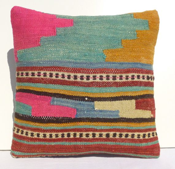 Decorative Throw Pillow Ethnic Kilim Pillow Cover 40x40 Colorful Wool?