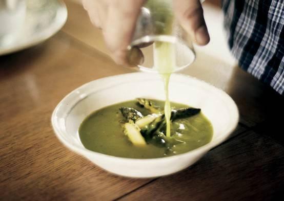 chilled asparagus soup - bon appetit | DELICIOUS | Pinterest