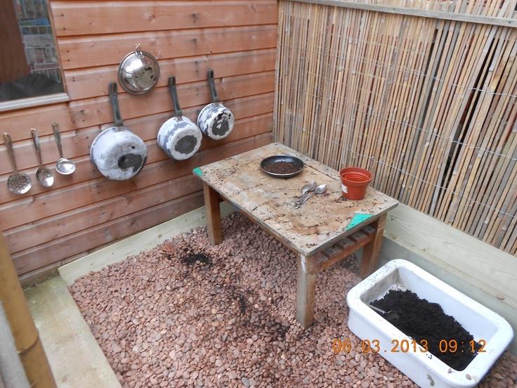 Mud kitchen at a preschool diy crafts pinterest for Daycare kitchen ideas