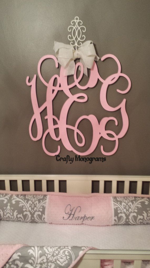 Painted wood monogram initials wall decor hanging wooden wall letters wedding office decor - Initial letter wall decor ...