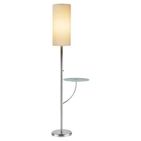 metal floor lamp with an exaggerated drum shade and attached glass top. Black Bedroom Furniture Sets. Home Design Ideas