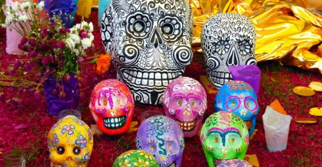 Mexico Day of the Dead - decorated sugar skulls