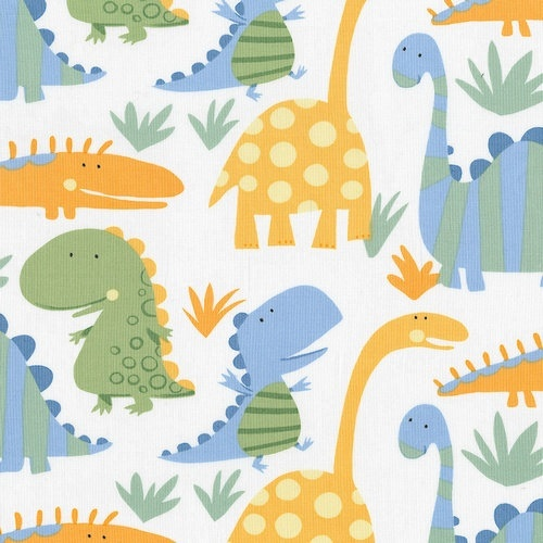 Pair of dinosaur print cutain panels drapes lined 40w x for Kids dinosaur fabric
