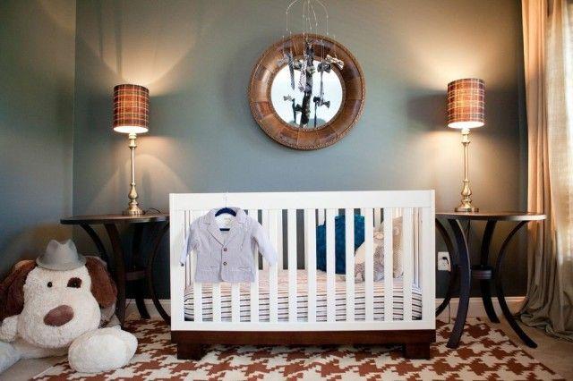 """Fab #houndstooth rug in this """"man cave"""" nursery - #nursery #rug"""