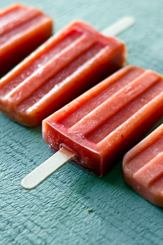 Roasted Peach and Raspberry Pops | Recipe